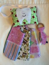 Baby Lot Bib Teether Tooth Fairy Pillow Wood Ring Owl Lace Ladybug Cotton Fab