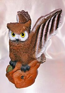 New Large 40 Oz Owl Candle Figurine w/ Glass Eyes Wings Spread Magnificent Decor