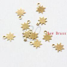 400pcs Raw Brass Sun Charm - Star 8x6.5mm (2019C-P-332)