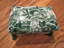 Antique ironstone dresser box man woman footed old vanity piece green white