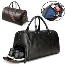 Men's Leather Gym Duffel Shoulder Bag Travel Overnight Luggage Large Handbag