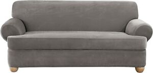 Sure Fit flannel grey T cushion Stretch Pique Sofa slipcover washable cover