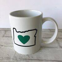 State of Oregon Coffee Mug Green Heart 10 Oz Pacific Northwest West Coast Love