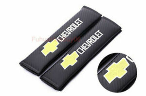 For Chevrolet 2x Car Auto Seat Safety Belt Pad Cover Shoulder Strap Cushion Logo