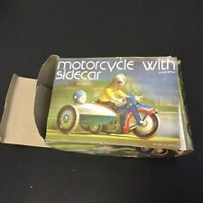 1960s Vintage Clockwork Tin Motorcycle with Sidecar Wind Up Toys - MS-709  [U]