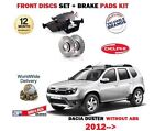 FOR DACIA DUSTER 1.6i 1.5 DCI 2012 > NEW -ABS FRONT BRAKE DISCS SET + PADS KIT