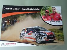 Carte postale Postcard CITROEN DS3 R3 QUENTIN GILBERT RALLY WRC 2012