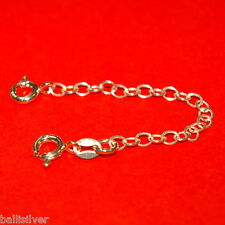 """Sterling Silver 925 3"""" Safety CHAIN EXTENDER with Two Spring Clasps BalliSilver"""