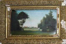 Tableau XIX° siècle : paysage arboré et animé, Marillet Vendée Loire