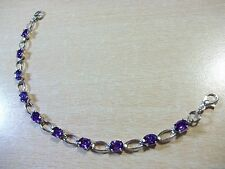 BEAUTIFUL PURPLE CUBIC ZIRCONIA SILVER PLATED CHAIN NO BRAND BRACELET 7 3/4""