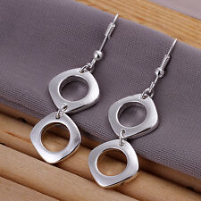 Wholesale 925Sterling Silver Jewelry Lovely Double Square Earring Dangle EB024