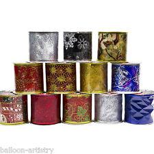 12 Christmas Gift Wrap Festive Fabric 9ft Glitter Tulle Decorating Ribbon Rolls