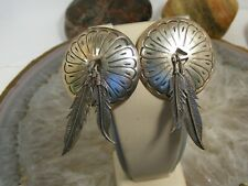 """Feather Post Earrings 2 1/2"""" Dangle Older Navajo Vintage Sterling Concho &"""
