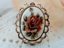 Vintage English porcelain cameo clip with rose and gold tone, scarf clip, gifts