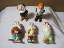 Vintage Walt Disney Figures 5 Snow White Dwarfs Japan    T*