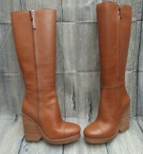 MARC JACOBS KNEE HIGH WEDGE LEATHER BOOTS>BN>3uk>36>£300+>BROWN>RIDING>ZIP