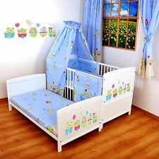 NEW WHITE 2in1 COT-BED 120x60 -HAPPY TRAIN - 12 PIECE BEDDING - MATTRESS FREE