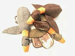 Bow Wow Pet 3-Pack Plush Burlap Geese w/Crinkle Sound and Squeaker Dog Toys