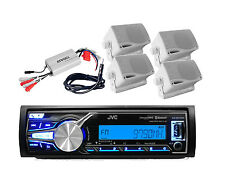 Marine JVC Bluetooth iPod iPhone Input USB Stereo+ 800W Amp,Antenna & 4 Speakers