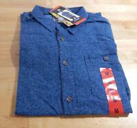 NWT Men's Hang Ten Linen/Cotton lend Short Sleeve Woven Shirt-Medium