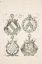 Gravure XVII° NOLIN Armoiries Blasons BESSE Loraine- DEPINAY- de SOUVRE-d'ALBERT