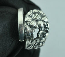 Beautiful 950 Sterling Silver Flower Spoon Ring