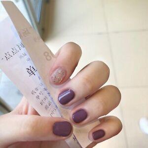 Glitter French Short Full False Nail Press On Nails Purple Detachable Fake Nails