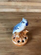 """Vintage Luster Ware Blue Bird Floral Frog Ceramic Japan Flower Lustre 2.5"""" Tall"""