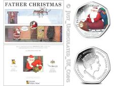 More details for 2020 coloured father christmas 50p coin & card - fifty pence *rare*