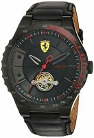 Scuderia Ferrari Men's Stainless Steel Mechanical-Hand-Wind Watch with Leathe...