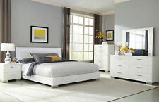 NEW Modern Glossy White 5 piece Bedroom Set with King Low Profile Platform Bed