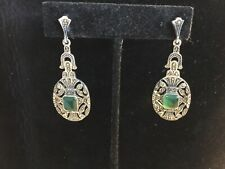 ANTIQUE SIGNED STERLING SILVER & CHRYSOPRASE DECO LONG DANGLING EARRINGS NR