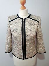 Ted Baker Short Tweed/boucle Jacket Size UK 8-10 Blue Mix box fit contrast trim