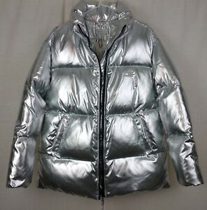 Tommy Hilfiger Icons Silver High Gloss Puffer Down Filled Jacket Size XS - BNWT