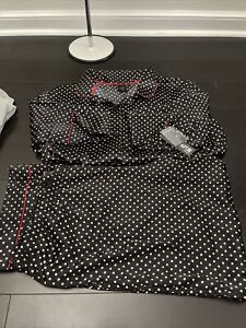 APT 9 Pajamas Set SZ XXL Long Sleeves Pants Black White Dots Liquid Satin 0421
