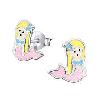 Girls Ladies 925 Sterling Silver Pink Glitter Mermaid Stud Earrings Pair Boxed