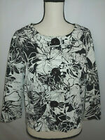 Coldwater Creek Sz L 3 Button Jacket Black and White Floral  3/4 Slv Scoop Neck