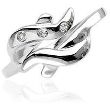 .925 Sterling Silver Adjustable Toe Ring W/ Three Cz Gems (toe 3L)