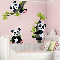Wandtattoo Kinder Zimmer Panda Bären Set Tiere Baby 3D XXL Wandsticker Aufkleber
