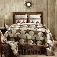 ABILENE STAR Queen Quilt Red/Tan/Brown Primitive Americana Patchwork Check Plaid