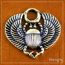 Egyptian Scarab w Wings charm ~1pc~ antique gold egypt beetle pendant