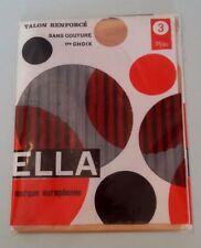 Paire de bas nylon vintage Ella beige clair dans leur pochette jamais servi