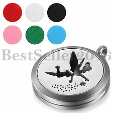 Aromatherapy Essential Oil Diffuser Locket Necklace Pendant w 6pcs Refill Pads