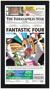 Helio Castroneves Indianapolis 500 Brick Yard 2021 Newspaper Photo Framed 5/30