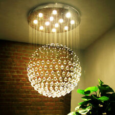 1X Hanging Crystal Glass Ball Round Sphere Prism Lighting Pendant For Table Lamp