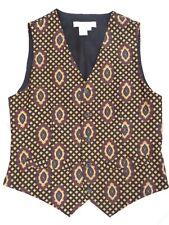 PRESTON & YORK VEST Men's Small 100% Silk Button Front Belted EUC rare waistcoat