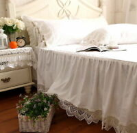 Shabby Chic Victorian Style White Wide Handmade Crochet Lace Bed Skirt Cotton