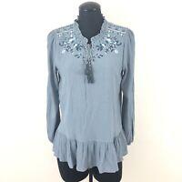 Knox Rose Womens Medium Slate Blue Floral Embroidered Boho Tassel Blouse Top