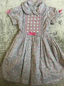 Girls Rachel Riley Grey Floral Smocked Dress Size 4 Years