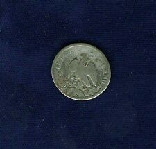 MEXICO EMPIRE OF MAXIMILIAN 1864-Mo 10 CENTAVOS SILVER COIN, CIRCULATED, VG+